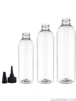 Empty clear PET bottle with Nozzle cap - 200 and 250ml